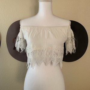 Free People Lace Off The Shoulder Crop Top
